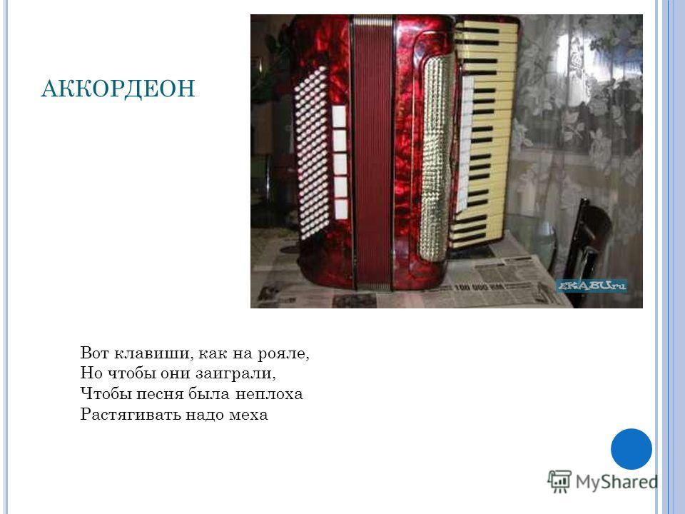 АККОРДЕОН Вот клавиши, как на рояле, Но чтобы они заиграли, Чтобы песня была неплоха Растягивать надо меха