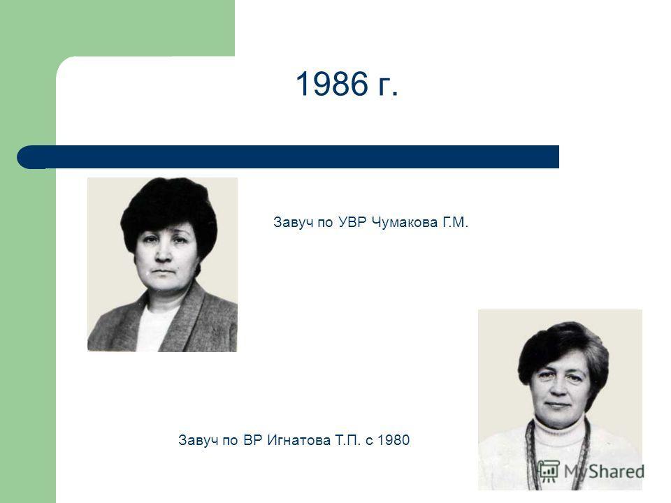 1986 г. Завуч по УВР Чумакова Г.М. Завуч по ВР Игнатова Т.П. с 1980