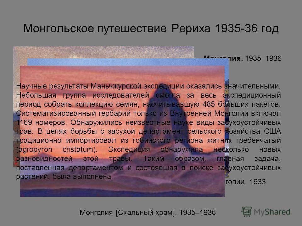 Монгольское путешествие Рериха 1935-36 год Монголия. 1935–1936 Камни Монголии. 1933 Монголия [Скальный храм]. 1935–1936 Научные результаты Маньчжурской экспедиции оказались значительными. Небольшая группа исследователей смогла за весь экспедиционный