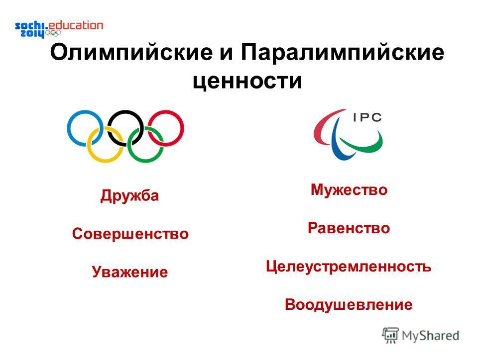 Олимпийские и Паралимпийские ценности Дружба Совершенство Уважение Мужество Равенство Целеустремленность Воодушевление