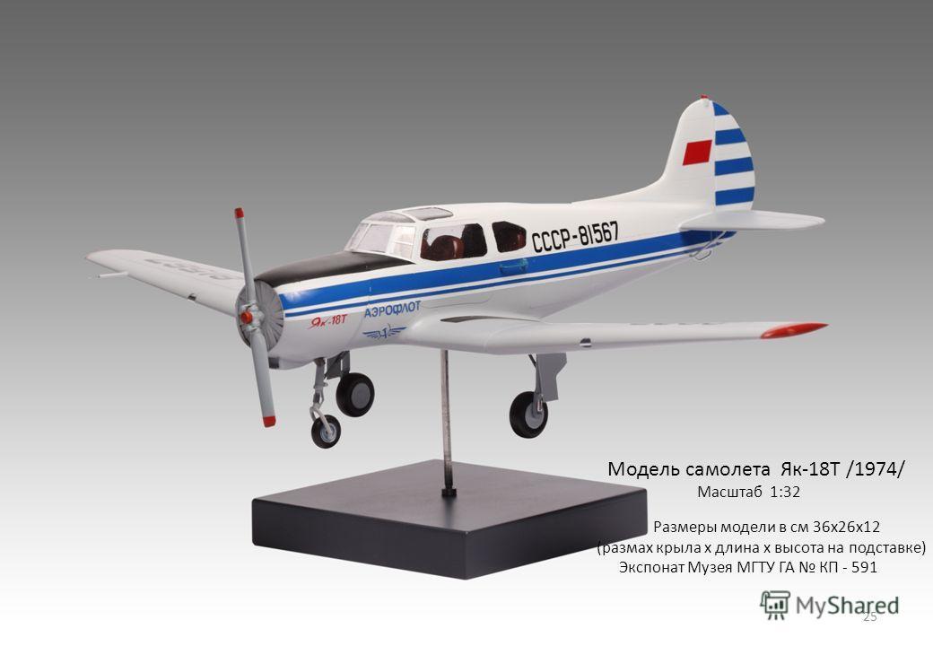 Модель самолета Як-18Т /1974/ Масштаб 1:32 Размеры модели в см 36х26х12 (размах крыла х длина х высота на подставке) Экспонат Музея МГТУ ГА КП - 591 25