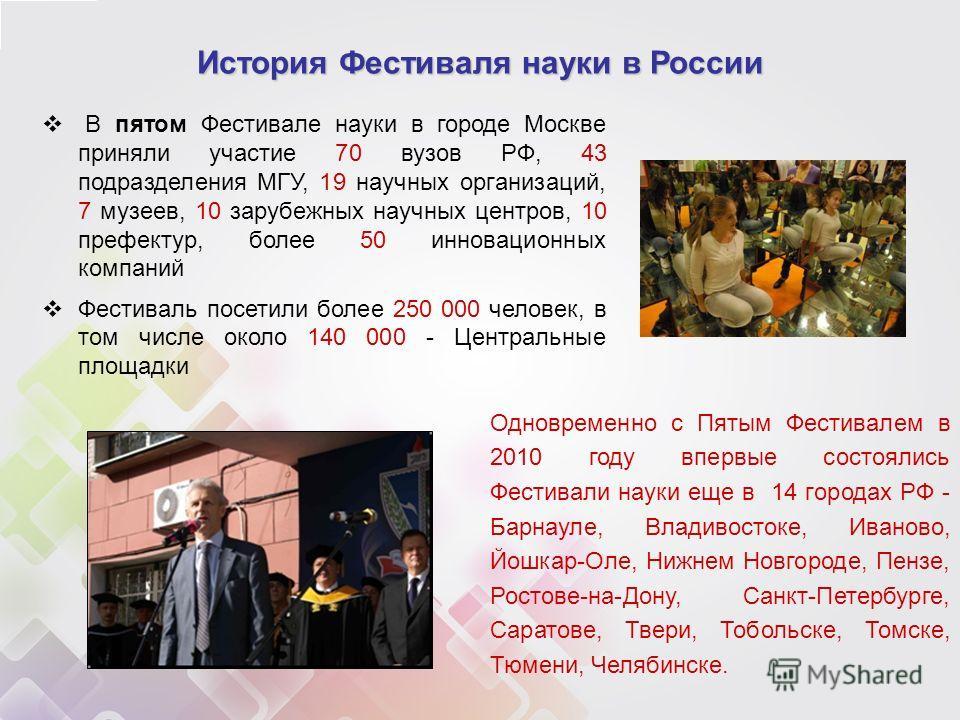 В пятом Фестивале науки в городе Москве приняли участие 70 вузов РФ, 43 подразделения МГУ, 19 научных организаций, 7 музеев, 10 зарубежных научных центров, 10 префектур, более 50 инновационных компаний Фестиваль посетили более 250 000 человек, в том