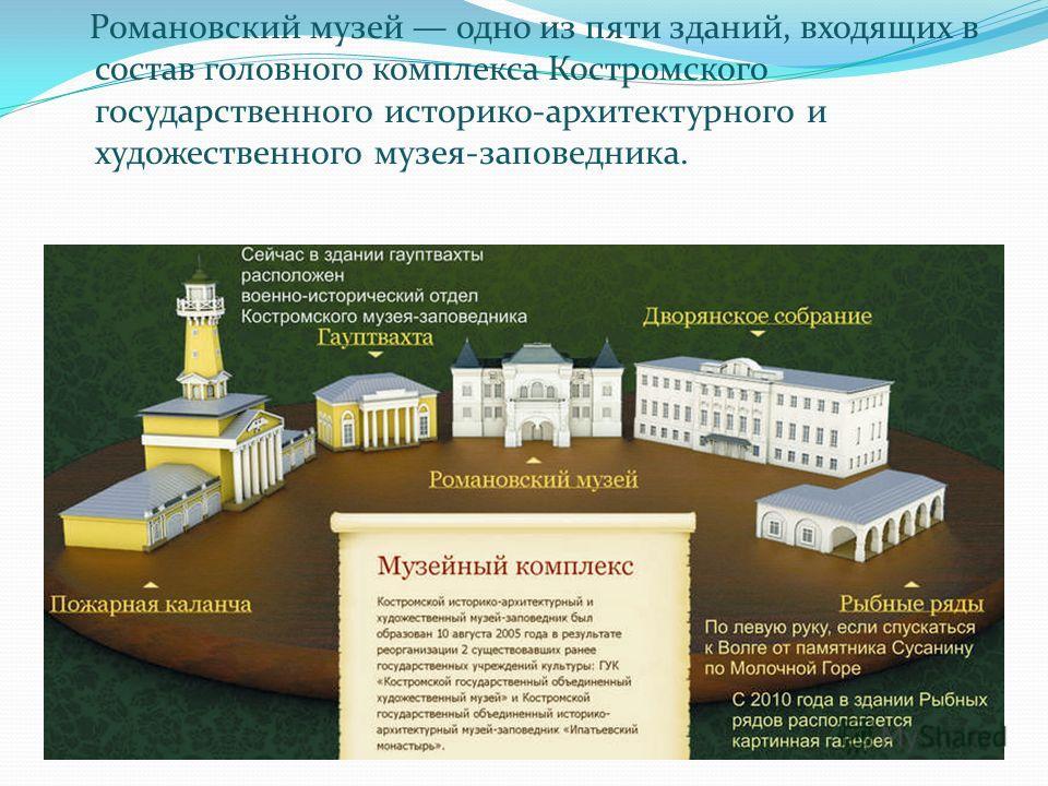 Романовский музей одно из пяти зданий, входящих в состав головного комплекса Костромского государственного историко-архитектурного и художественного музея-заповедника.