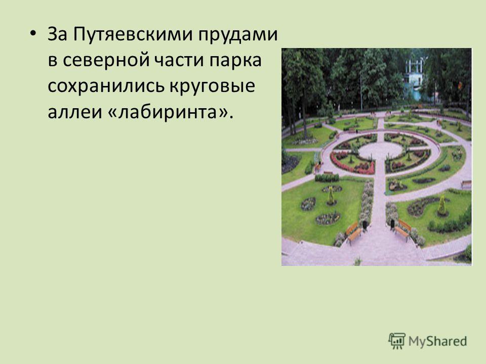 За Путяевскими прудами в северной части парка сохранились круговые аллеи «лабиринта».
