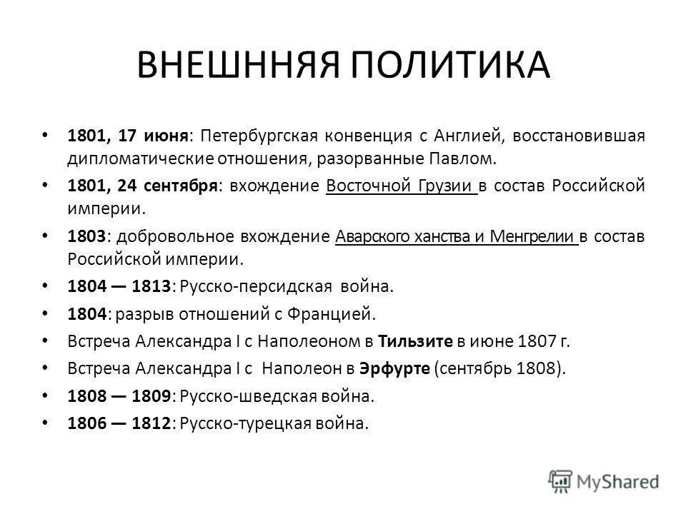 ВНЕШННЯЯ ПОЛИТИКА 1801, 17 июня: Петербургская конвенция с Англией, восстановившая дипломатические отношения, разорванные Павлом. 1801, 24 сентября: вхождение Восточной Грузии в состав Российской империи. 1803: добровольное вхождение Аварского ханств