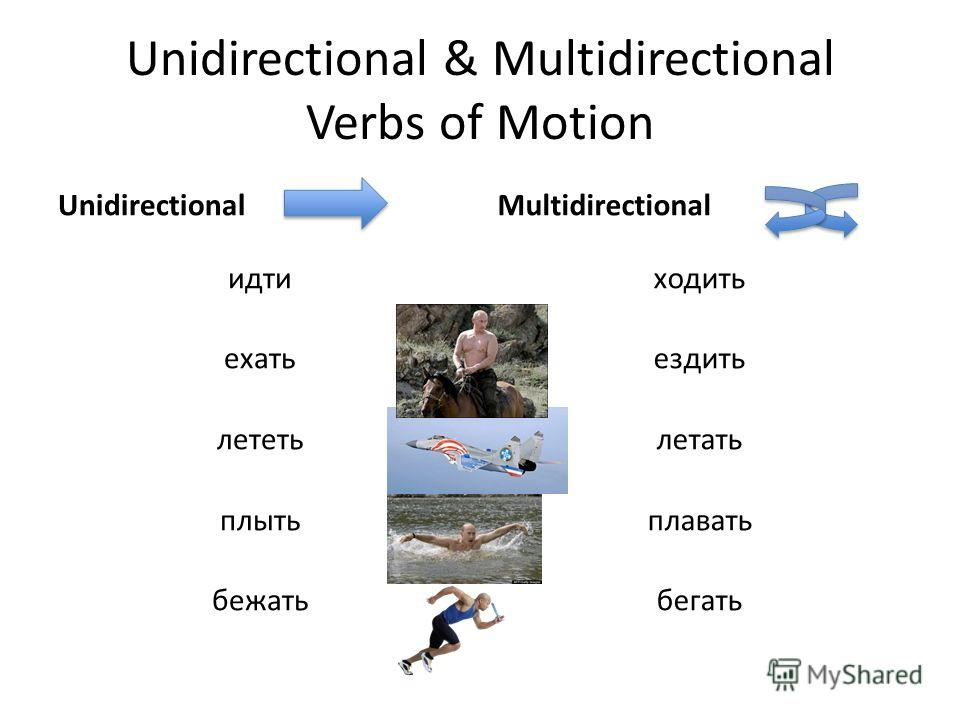 Unidirectional & Multidirectional Verbs of Motion Unidirectional идти ехать лететь плыть бежать Multidirectional ходить ездить летать плавать бегать
