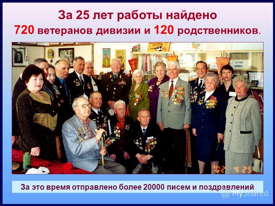 За 25 лет работы найдено 720 ветеранов дивизии и 120 родственников. За это время отправлено более 20000 писем и поздравлений