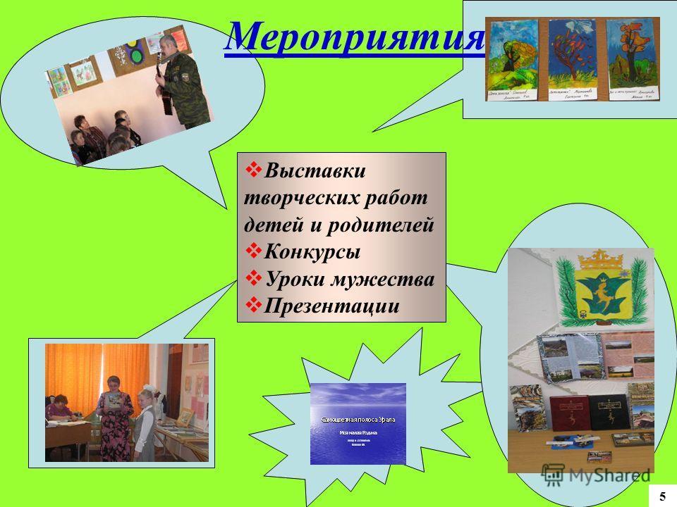 Мероприятия Выставки творческих работ детей и родителей Конкурсы Уроки мужества Презентации 5