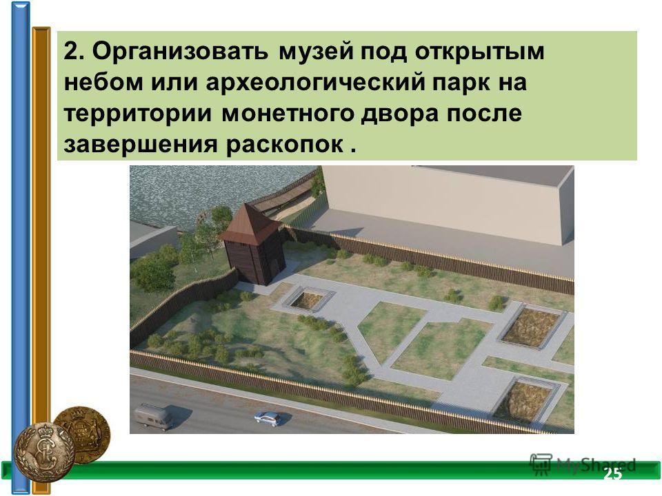 2. Организовать музей под открытым небом или археологический парк на территории монетного двора после завершения раскопок. 25