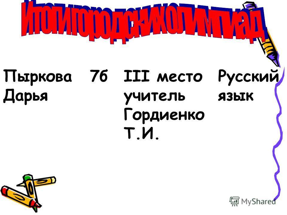 Пыркова Дарья 7бIII место учитель Гордиенко Т.И. Русский язык