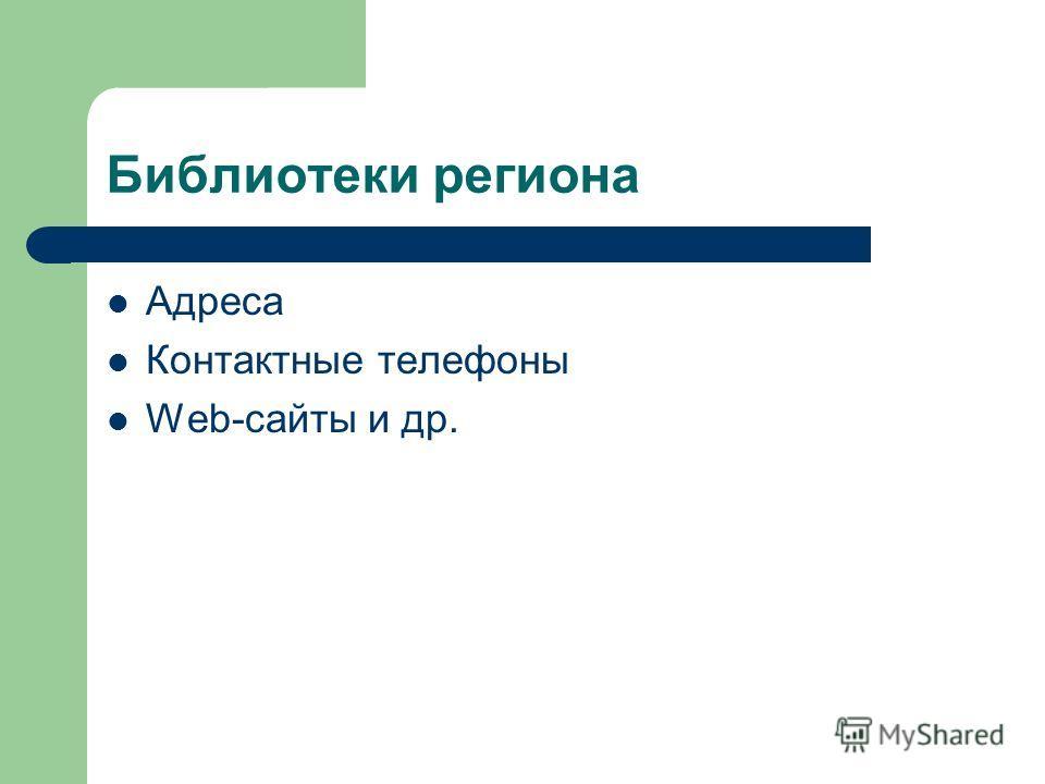 Библиотеки региона Адреса Контактные телефоны Web-сайты и др.