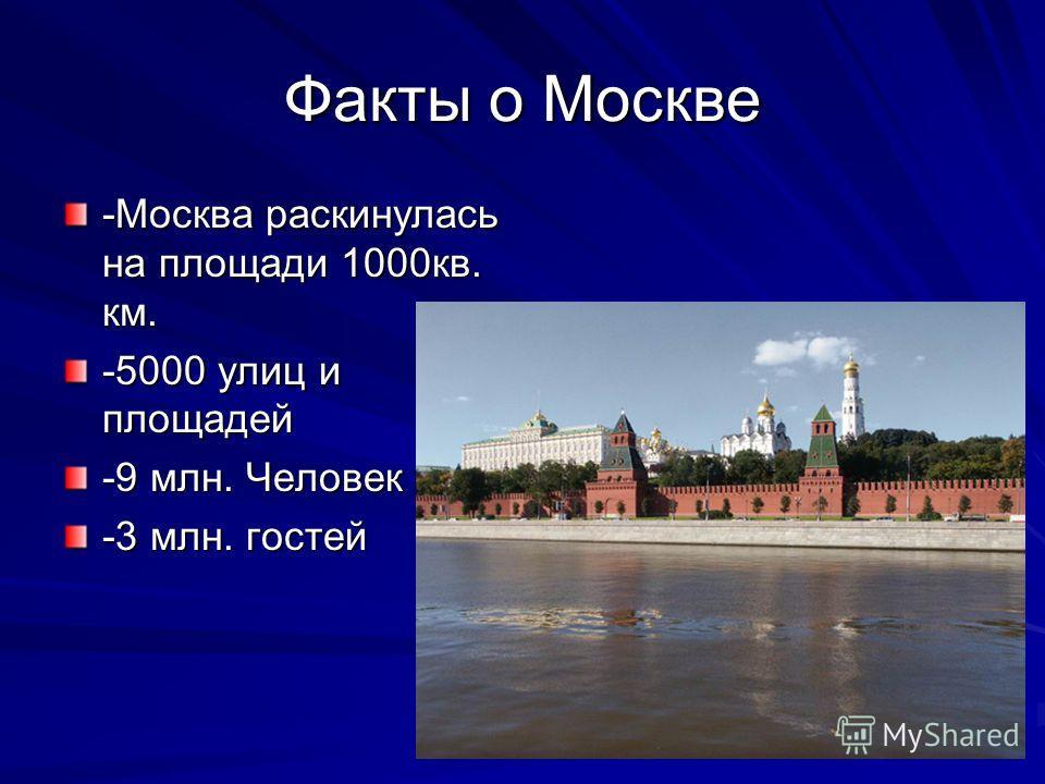 Факты о Москве -Москва раскинулась на площади 1000кв. км. -5000 улиц и площадей -9 млн. Человек -3 млн. гостей