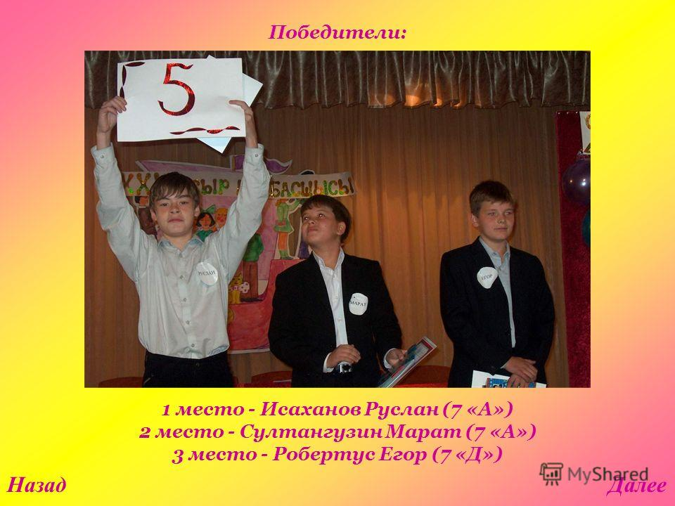 1 место - Исаханов Руслан (7 «А») 2 место - Султангузин Марат (7 «А») 3 место - Робертус Егор (7 «Д») НазадДалее Победители: