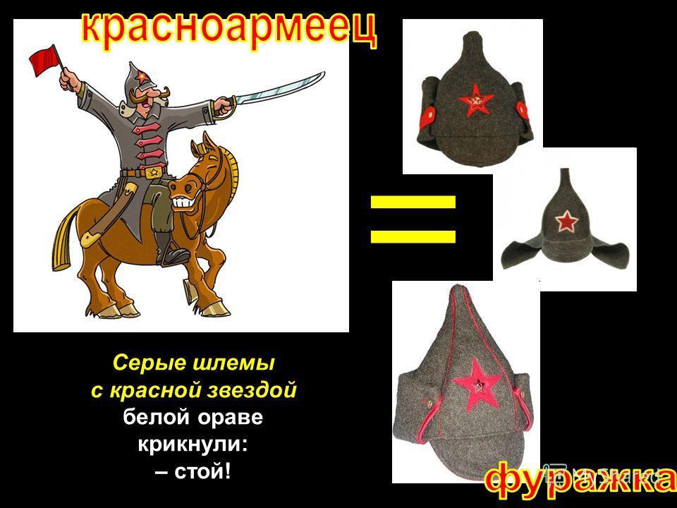 Серые шлемы с красной звездой белой ораве крикнули: – стой!