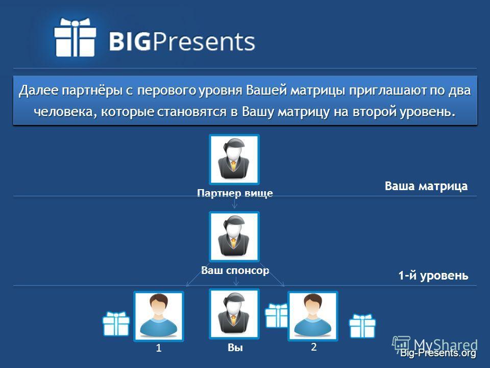 Big-Presents.org Партнер вище Система BigPresents основана на самой короткой не делящейся двухуровневой матрице 2x2, состоящей из Вас и 6 партнеров. Вы входите в систему, регистрируетесь под вашего спонсора и дарите подарок вышестоящему партнёру. Ваш