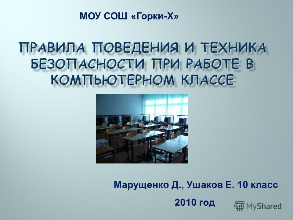 МОУ СОШ «Горки-Х» Марущенко Д., Ушаков Е. 10 класс 2010 год