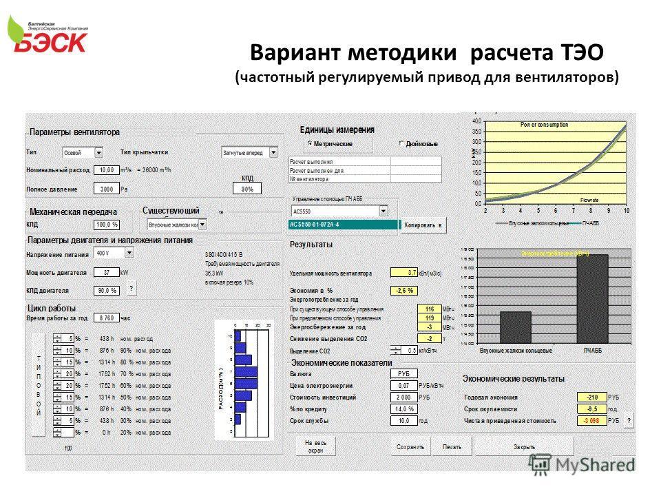 Вариант методики расчета ТЭО (частотный регулируемый привод для вентиляторов)