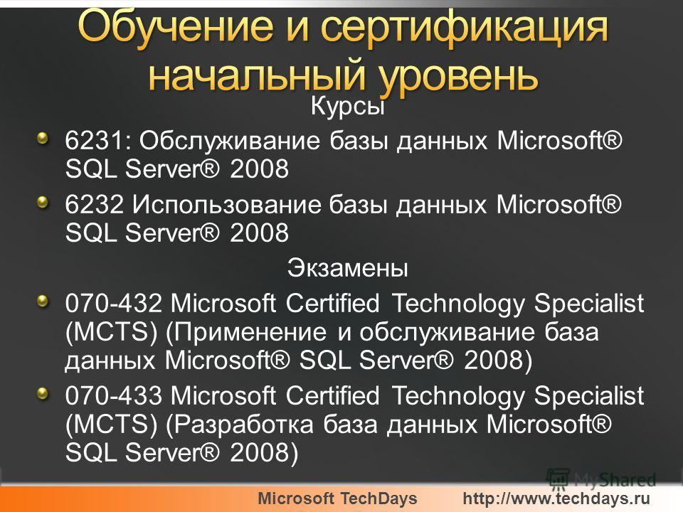 Microsoft TechDayshttp://www.techdays.ru Курсы 6231: Обслуживание базы данных Microsoft® SQL Server® 2008 6232 Использование базы данных Microsoft® SQL Server® 2008 Экзамены 070-432 Microsoft Certified Technology Specialist (MCTS) (Применение и обслу