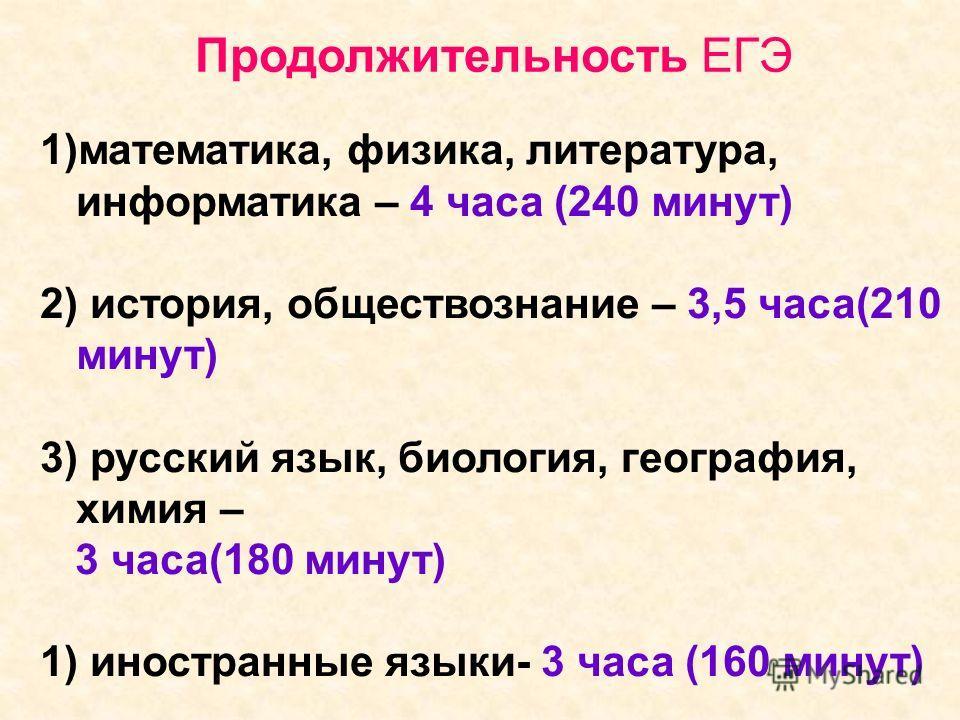 Продолжительность ЕГЭ 1)математика, физика, литература, информатика – 4 часа (240 минут) 2) история, обществознание – 3,5 часа(210 минут) 3) русский язык, биология, география, химия – 3 часа(180 минут) 1) иностранные языки- 3 часа (160 минут)