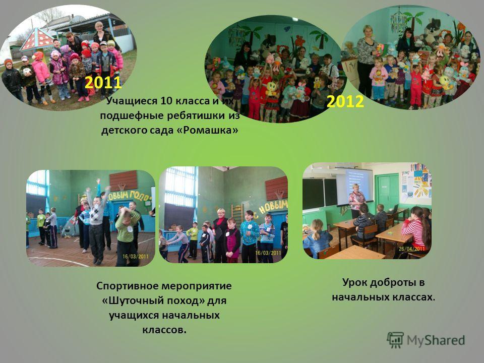 2011 2012 Учащиеся 10 класса и их подшефные ребятишки из детского сада «Ромашка» Спортивное мероприятие «Шуточный поход» для учащихся начальных классов. Урок доброты в начальных классах.