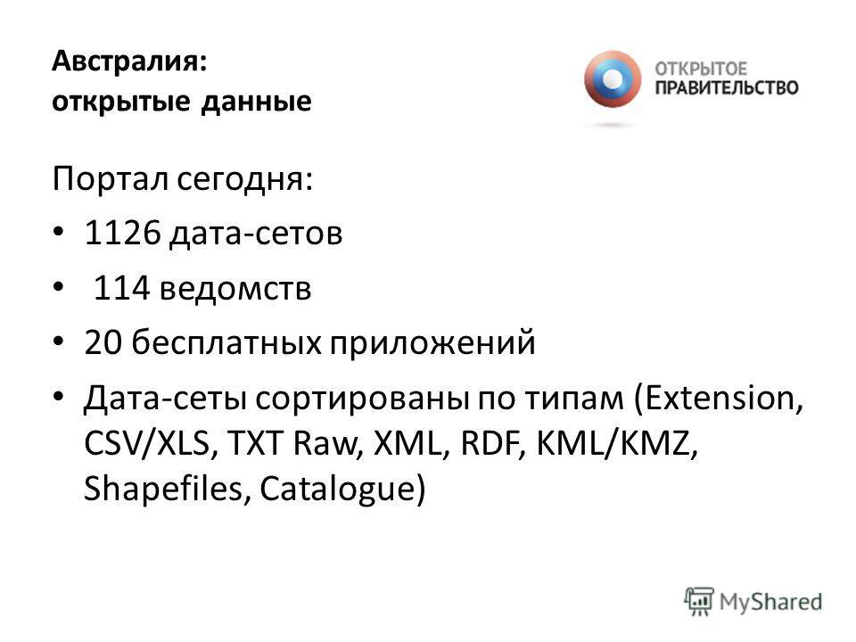 Австралия: открытые данные Портал сегодня: 1126 дата-сетов 114 ведомств 20 бесплатных приложений Дата-сеты сортированы по типам (Extension, CSV/XLS, TXT Raw, XML, RDF, KML/KMZ, Shapefiles, Catalogue)