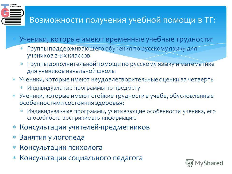 Ученики, которые имеют временные учебные трудности: Группы поддерживающего обучения по русскому языку для учеников 2-ых классов Группы дополнительной помощи по русскому языку и математике для учеников начальной школы Ученики, которые имеют неудовлетв