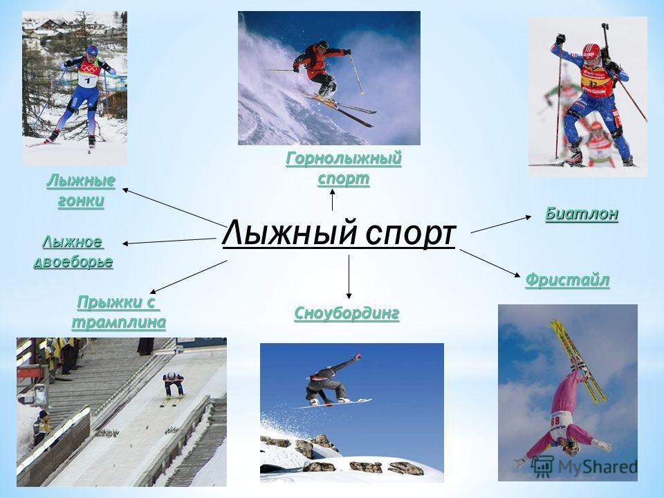 Лыжный спорт Горнолыжный спорт Лыжные гонки Прыжки с Прыжки с трамплина Лыжноедвоеборье Фристайл Сноубординг Биатлон