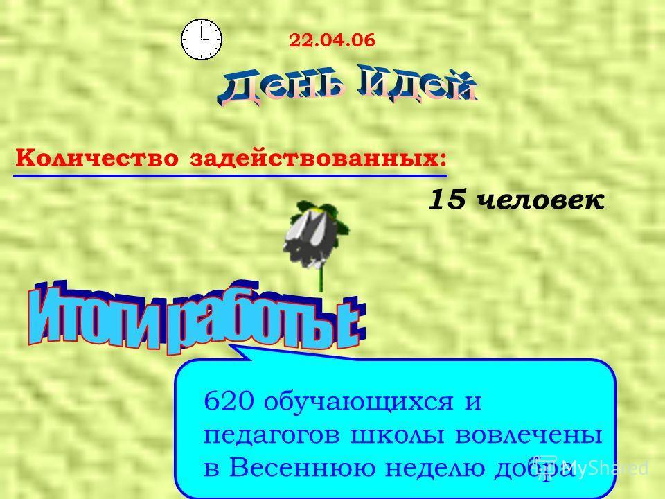 22.04.06 Количество задействованных: 15 человек 620 обучающихся и педагогов школы вовлечены в Весеннюю неделю добра