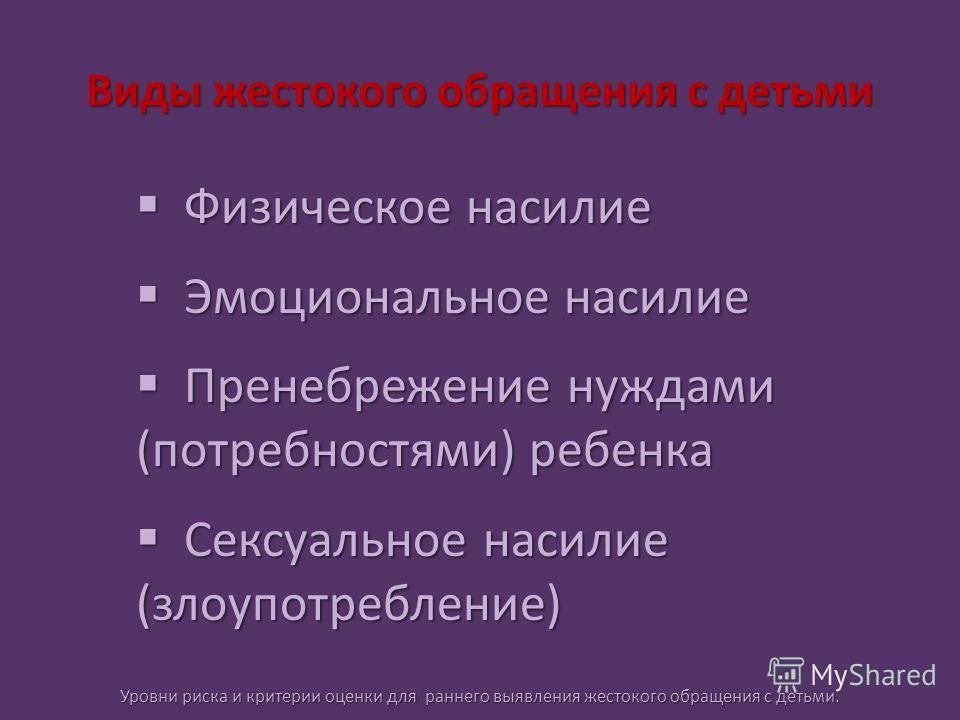 Виды жестокого обращения с детьми Физическое насилие Физическое насилие Эмоциональное насилие Эмоциональное насилие Пренебрежение нуждами (потребностями) ребенка Пренебрежение нуждами (потребностями) ребенка Сексуальное насилие (злоупотребление) Секс