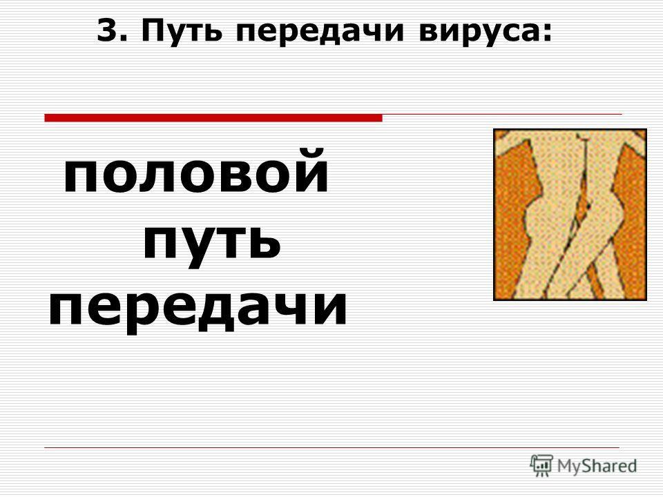 3. Путь передачи вируса: половой путь передачи