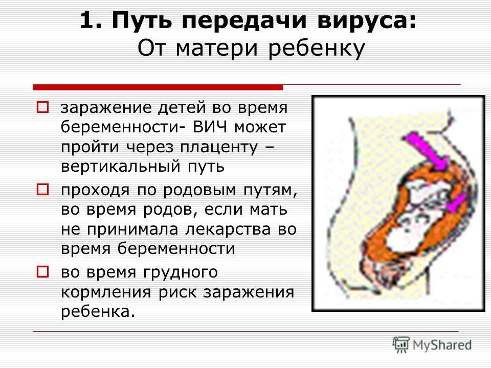 1. Путь передачи вируса: От матери ребенку заражение детей во время беременности- ВИЧ может пройти через плаценту – вертикальный путь проходя по родовым путям, во время родов, если мать не принимала лекарства во время беременности во время грудного к