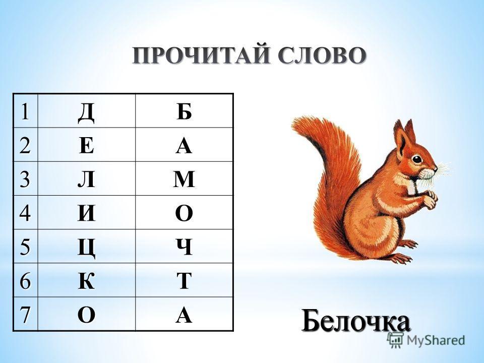 1ДБ2ЕА 3ЛМ 4ИО 5ЦЧ 6КТ 7ОА Белочка
