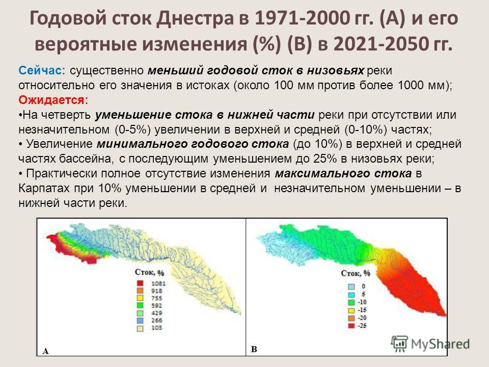 Годовой сток Днестра в 1971-2000 гг. (А) и его вероятные изменения (%) (В) в 2021-2050 гг. Сейчас: существенно меньший годовой сток в низовьях реки относительно его значения в истоках (около 100 мм против более 1000 мм); Ожидается: На четверть уменьш