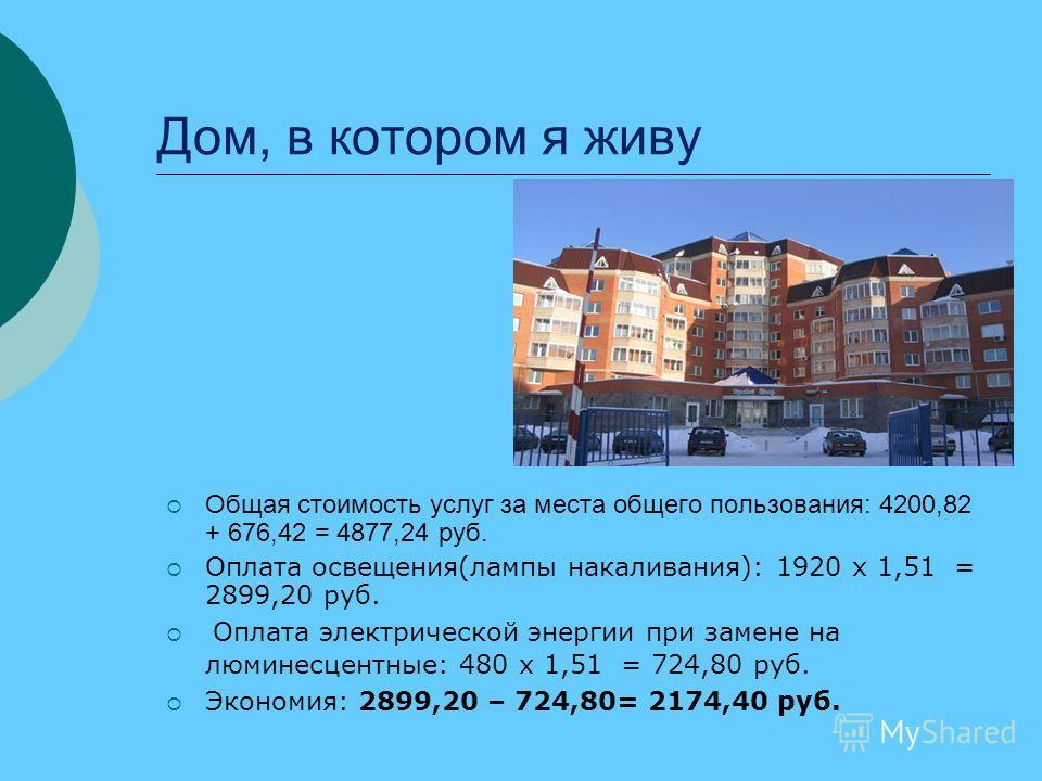 Дом, в котором я живу Общая стоимость услуг за места общего пользования: 4200,82 + 676,42 = 4877,24 руб. Оплата освещения(лампы накаливания): 1920 х 1,51 = 2899,20 руб. Оплата электрической энергии при замене на люминесцентные: 480 х 1,51 = 724,80 ру