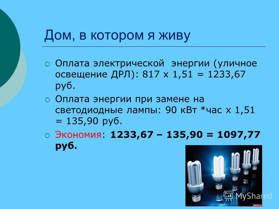 Дом, в котором я живу Оплата электрической энергии (уличное освещение ДРЛ): 817 х 1,51 = 1233,67 руб. Оплата энергии при замене на светодиодные лампы: 90 кВт *час х 1,51 = 135,90 руб. Экономия: 1233,67 – 135,90 = 1097,77 руб.