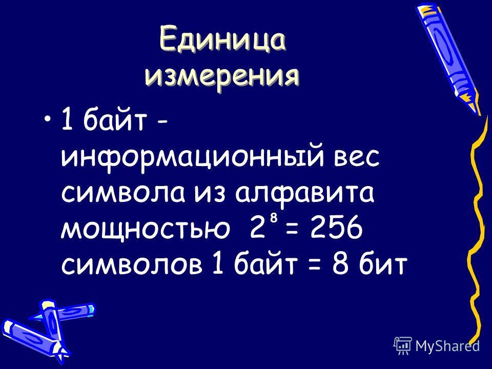 Единица измерения 1 байт - информационный вес символа из алфавита мощностью 2 = 256 символов 1 байт = 8 бит 8