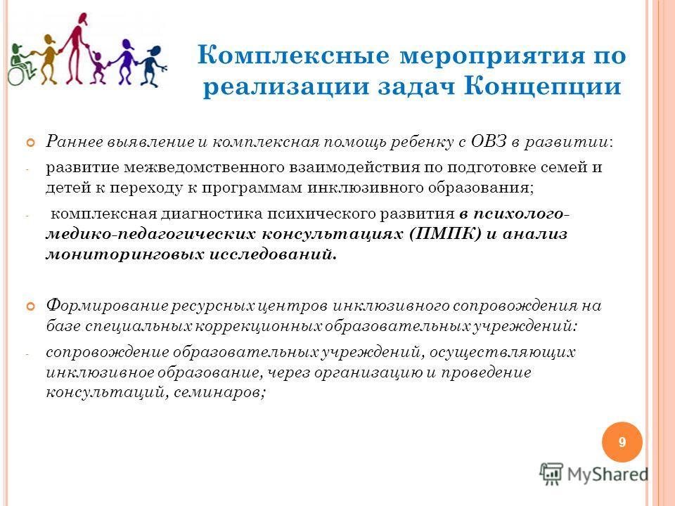 9 Комплексные мероприятия по реализации задач Концепции Раннее выявление и комплексная помощь ребенку с ОВЗ в развитии : - развитие межведомственного взаимодействия по подготовке семей и детей к переходу к программам инклюзивного образования; - компл