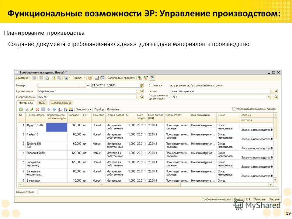 Функциональные возможности ЭР: Управление производством: 19 Планирование производства Создание документа «Требование-накладная» для выдачи материалов в производство