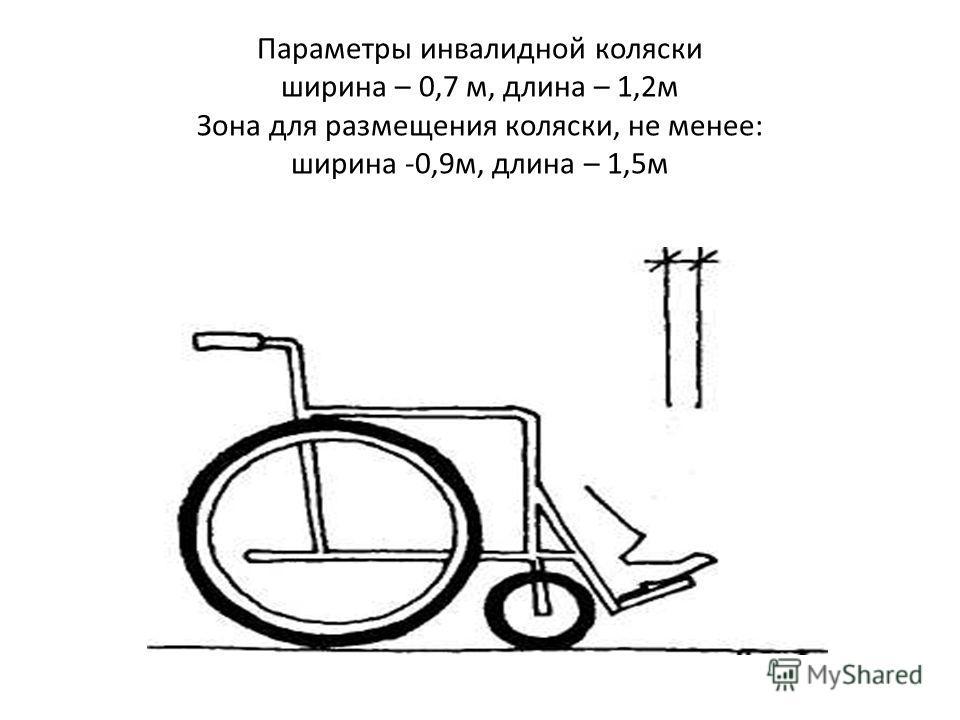 Параметры инвалидной коляски ширина – 0,7 м, длина – 1,2м Зона для размещения коляски, не менее: ширина -0,9м, длина – 1,5м