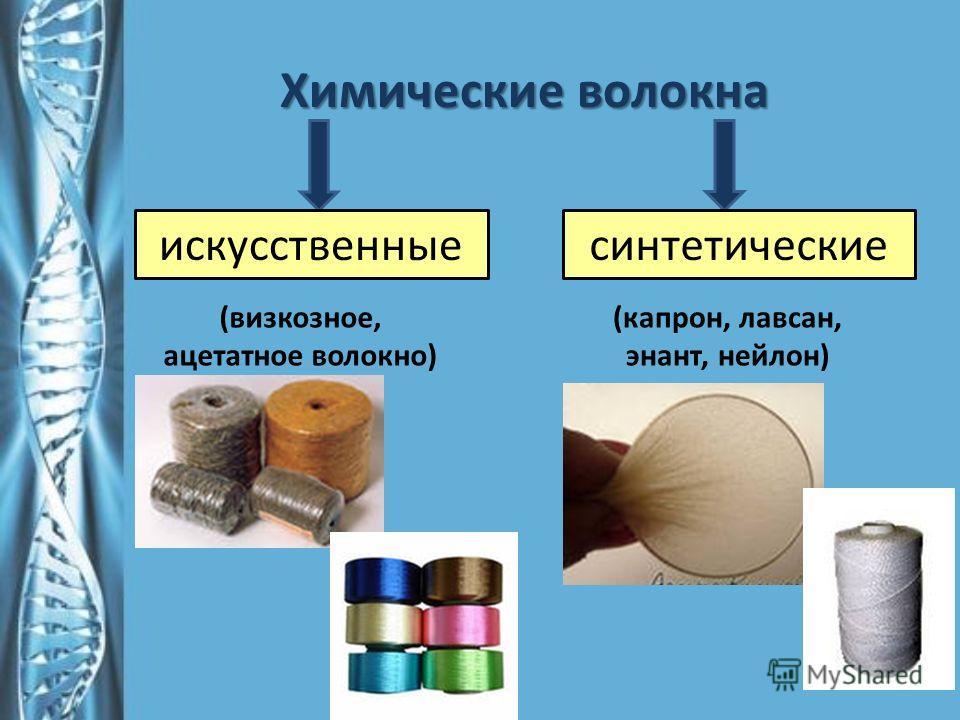 Химические волокна искусственныесинтетические (визкозное, ацетатное волокно) (капрон, лавсан, энант, нейлон)