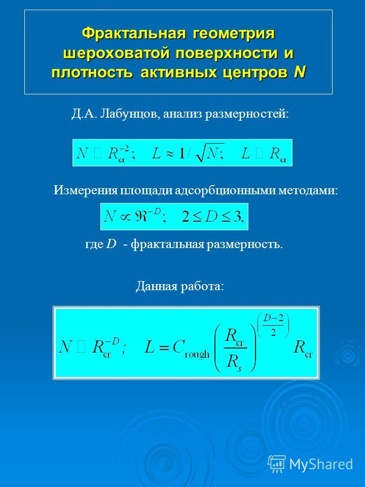 Фрактальная геометрия шероховатой поверхности и плотность активных центров N Д.А. Лабунцов, анализ размерностей: Измерения площади адсорбционными методами: где D - фрактальная размерность. Данная работа: