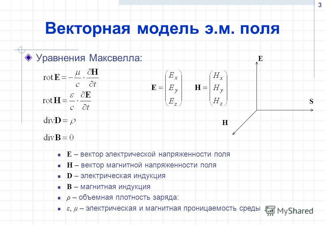 3 Векторная модель э.м. поля Уравнения Максвелла: E – вектор электрической напряженности поля H – вектор магнитной напряженности поля D – электрическая индукция B – магнитная индукция ρ – объемная плотность заряда: ε, μ – электрическая и магнитная пр