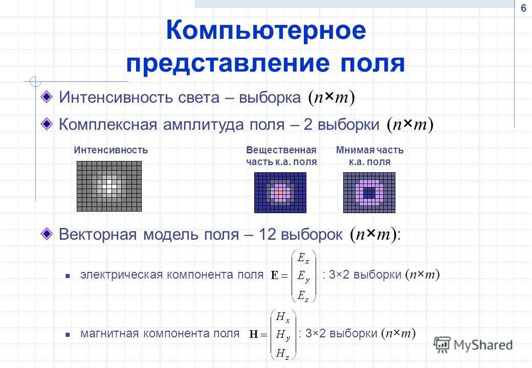 6 Компьютерное представление поля Интенсивность света – выборка (n×m) Интенсивность Вещественная часть к.а. поля Мнимая часть к.а. поля Комплексная амплитуда поля – 2 выборки (n×m) Векторная модель поля – 12 выборок (n×m) : электрическая компонента п