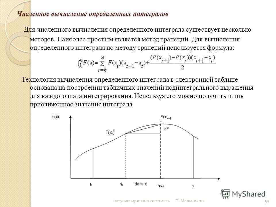П. Мельников 53 Численное вычисление определенных интегралов Для численного вычисления определенного интеграла существует несколько методов. Наиболее простым является метод трапеций. Для вычисления определенного интеграла по методу трапеций используе