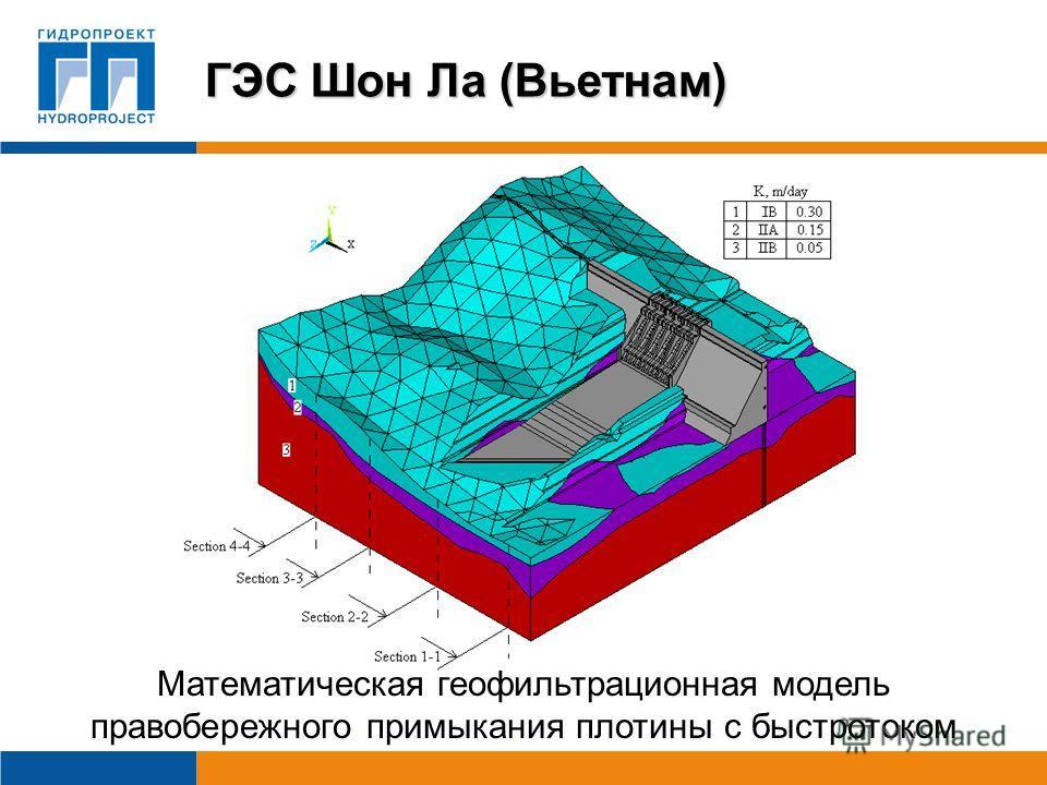 Математическая геофильтрационная модель правобережного примыкания плотины с быстротоком ГЭС Шон Ла (Вьетнам)