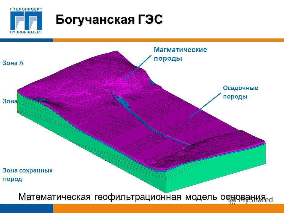 Зона А Зона Б Зона сохранных пород Математическая геофильтрационная модель основания Магматические породы Осадочные породы Богучанская ГЭС