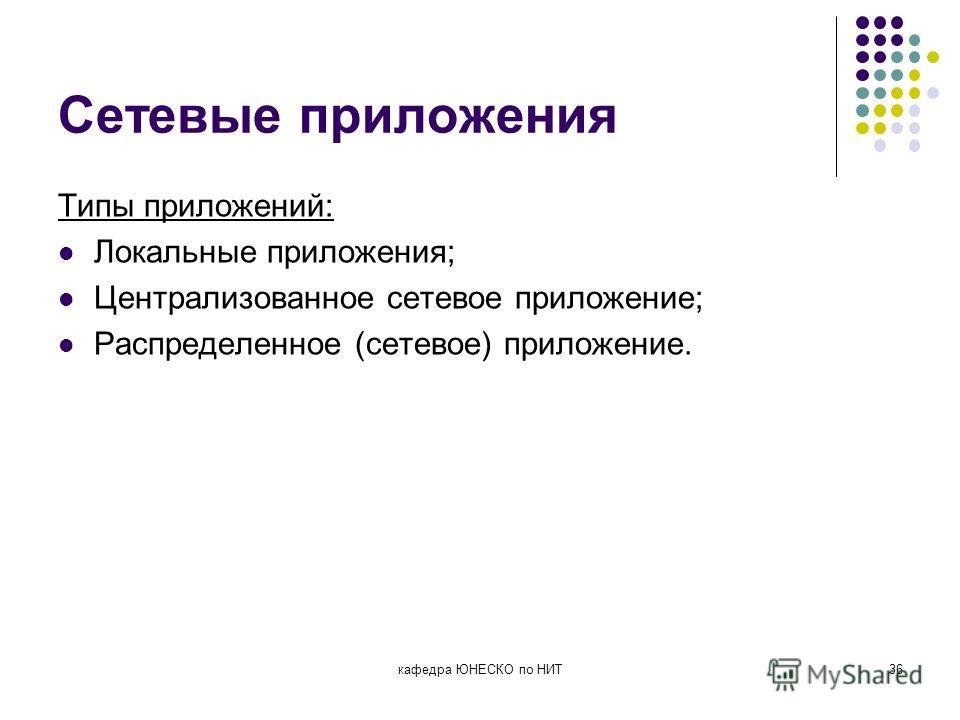 Сетевые приложения Типы приложений: Локальные приложения; Централизованное сетевое приложение; Распределенное (сетевое) приложение. кафедра ЮНЕСКО по НИТ36
