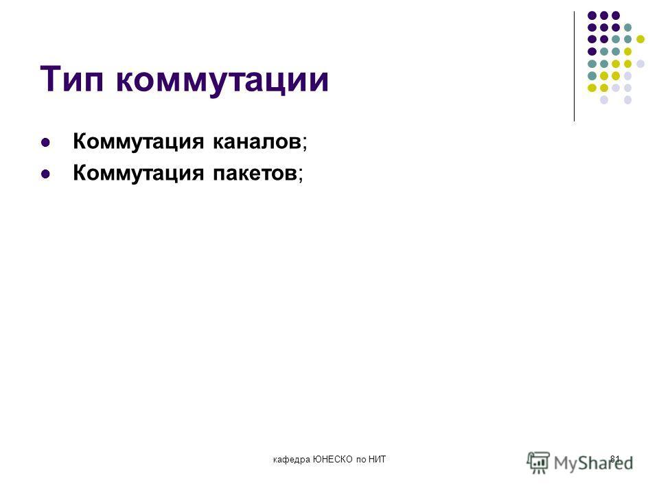 Тип коммутации Коммутация каналов; Коммутация пакетов; кафедра ЮНЕСКО по НИТ81