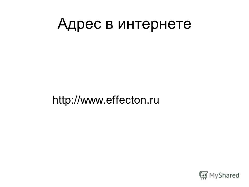 Адрес в интернете http://www.effecton.ru