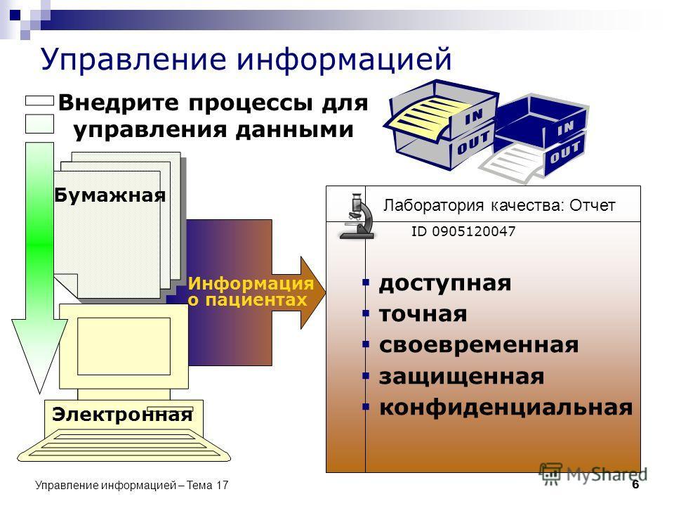 Управление информацией – Тема 17 6 Управление информацией Бумажная Электронная Внедрите процессы для управления данными Информация о пациентах доступная точная своевременная защищенная конфиденциальная Лаборатория качества: Отчет ID 0905120047